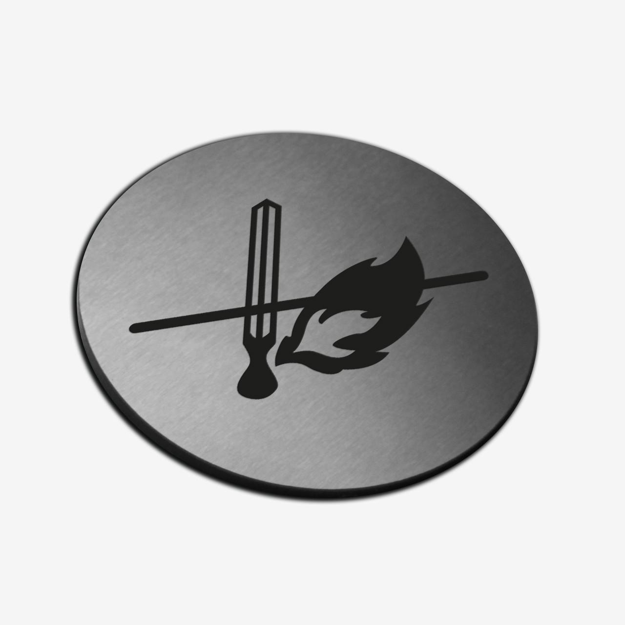 "Табличка круглая ""Огонь запрещен"" Stainless Steel"