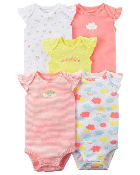 Набор из 5-ти бодиков Carter's для девочки, розовый, белый и желтый