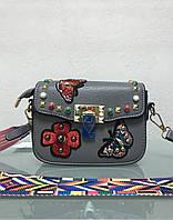 Сумка клатч Valentino серая маленькая с аппликациями, фото 1