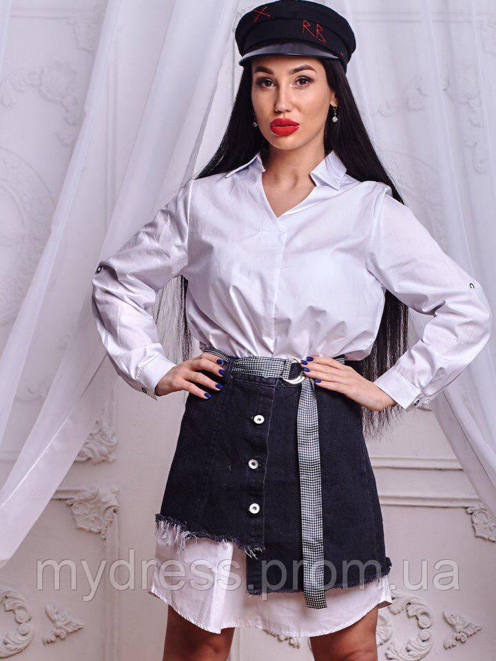 Платье комплект с воротником рубашки 640
