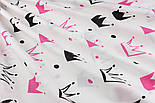 """Ткань хлопковая """"Нарисованные короны"""" малиновые и чёрные на белом (№1334а), фото 3"""