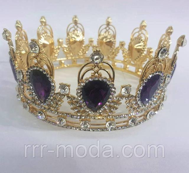 Бижутерия RRR свадебные тиара, золотая корона с фиолетовыми камнями.