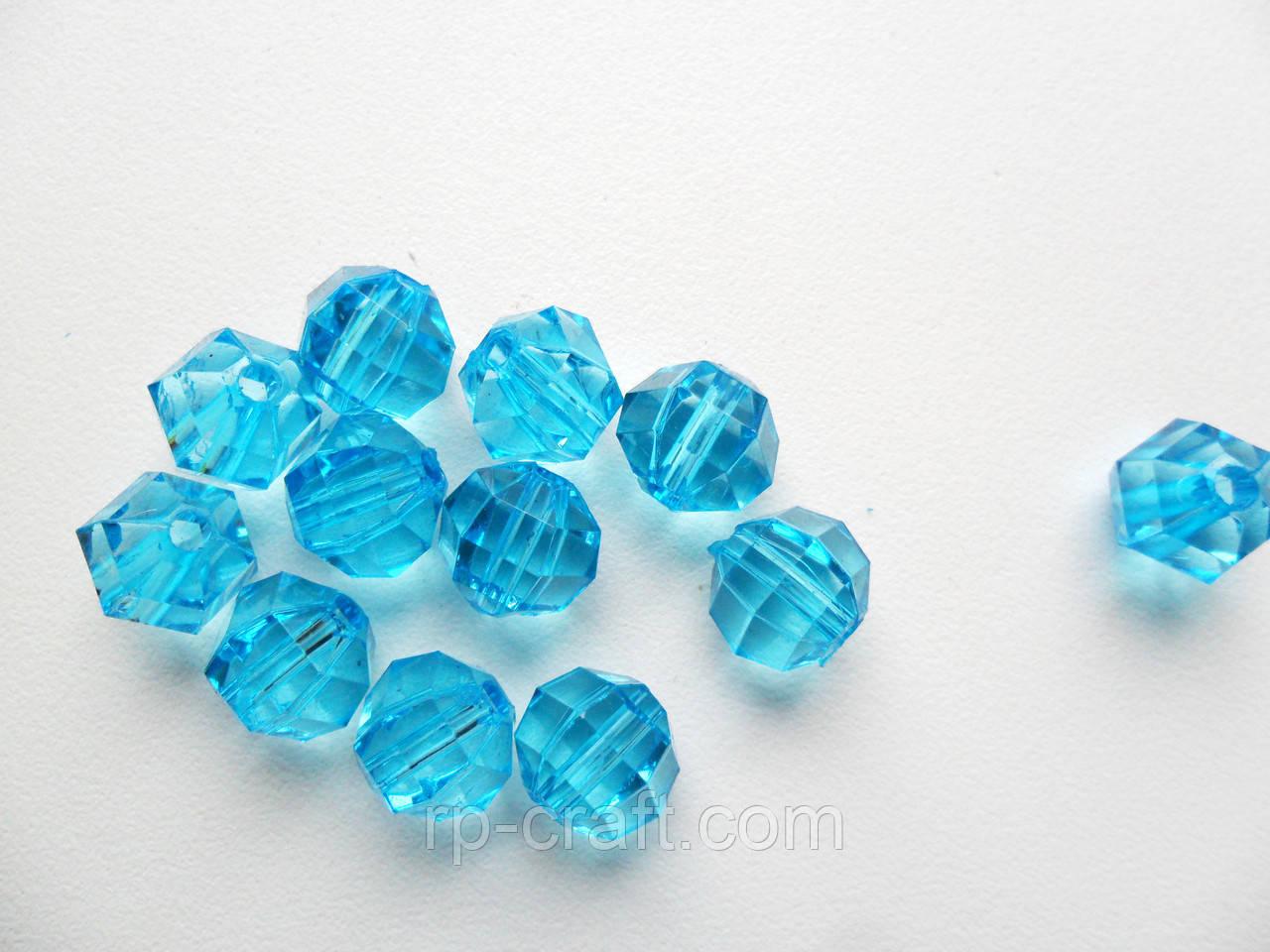 Бусина акриловая, шар граненный, голубой, 10х10х11 мм