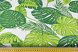 """Ткань хлопковая """"Листья монстеры и пальмы"""" большие, зелёные на белом, без ромбов №1339, фото 2"""