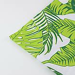 """Ткань хлопковая """"Листья монстеры и пальмы"""" большие, зелёные на белом, без ромбов №1339, фото 6"""