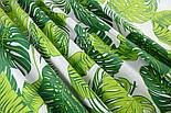 """Ткань хлопковая """"Листья монстеры и пальмы"""" большие, зелёные на белом, без ромбов №1339, фото 4"""