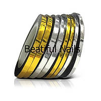Цветная декоративная лента для дизайна ногтей 0,1мм, цвета золото и серебро