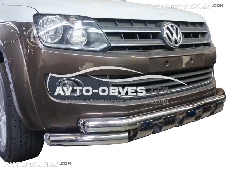 Стильний подвійний вус для Volkswagen Amarok 2010-2016 з грилем