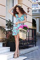 Летнее женское платье на запах с открытыми плечами очень нежное