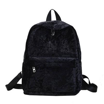 Рюкзак женский велюровый Amelie Velor A черный eps-8199, фото 2