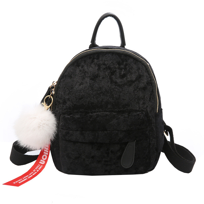 Рюкзак женский велюровый Bobby SK черный eps-8202