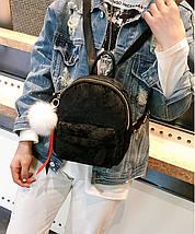 Рюкзак женский велюровый Bobby SK черный eps-8202, фото 3