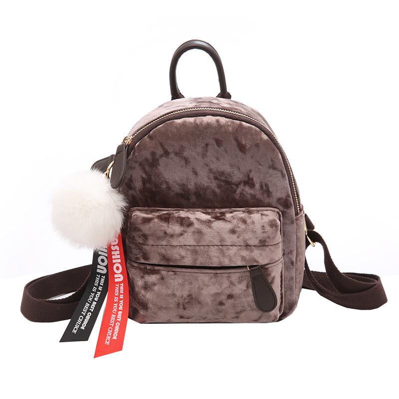 Рюкзак женский велюровый Bobby SX коричневый eps-8203