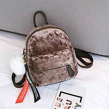 Рюкзак женский велюровый Bobby SX коричневый eps-8203, фото 2