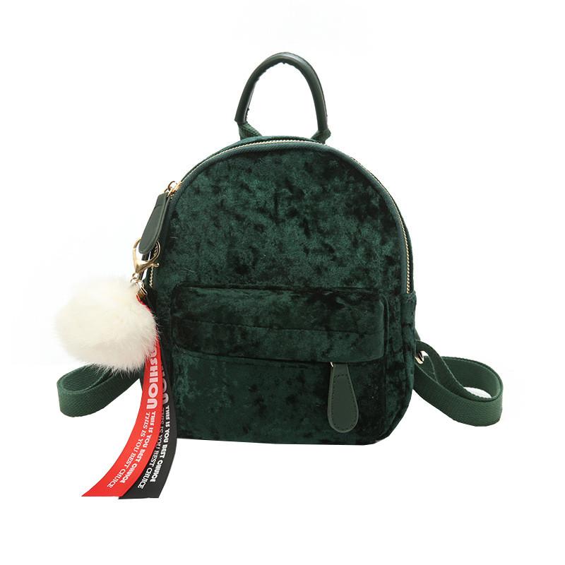 Рюкзак женский велюровый Bobby DT зеленый