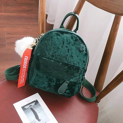 Рюкзак женский велюровый Bobby DT зеленый, фото 2
