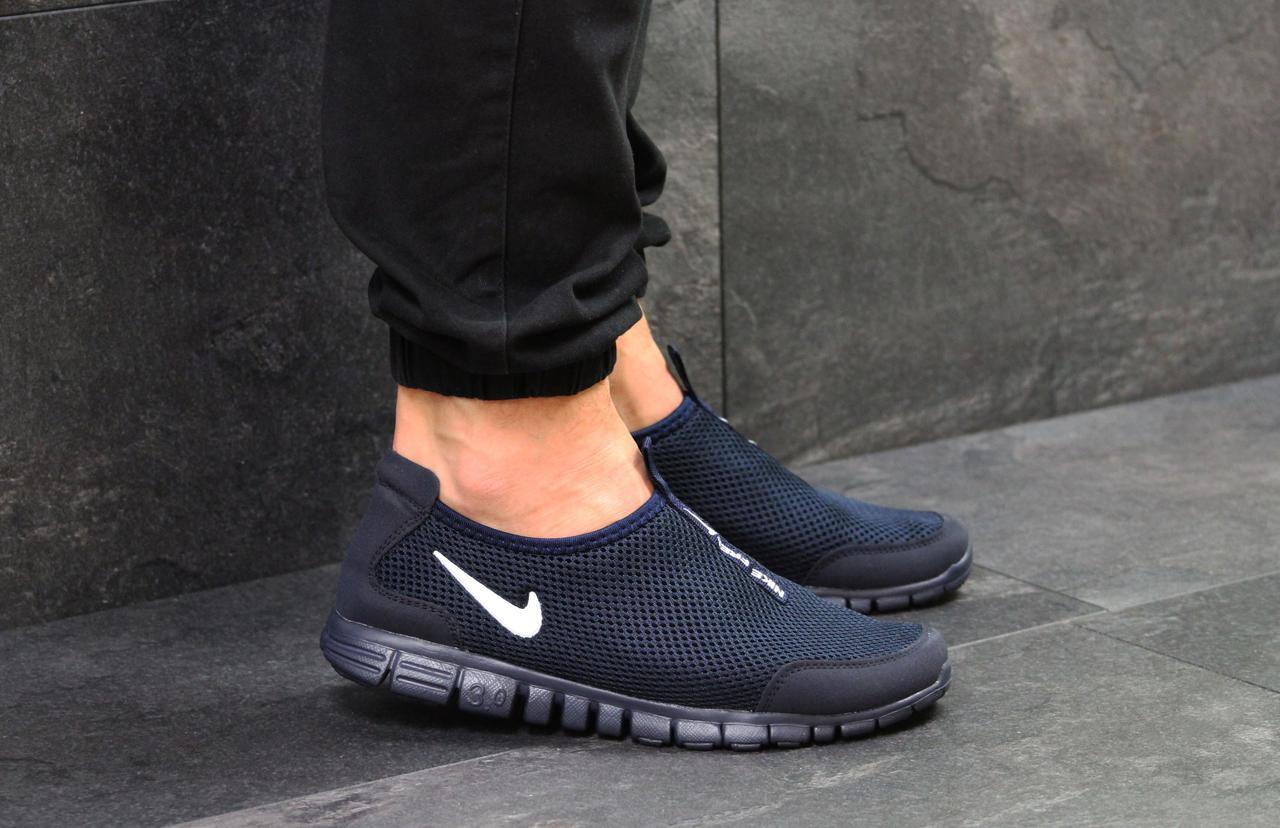 c073e9c2 Темно-синие мужские кроссовки Nike Free Run 3.0, без шнурков (Реплика)