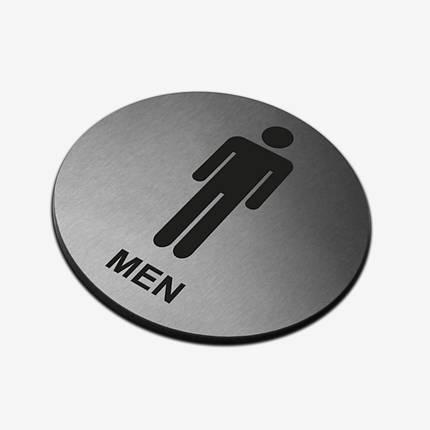 """Табличка кругла """"Чоловічий туалет"""" Stainless Steel, фото 2"""
