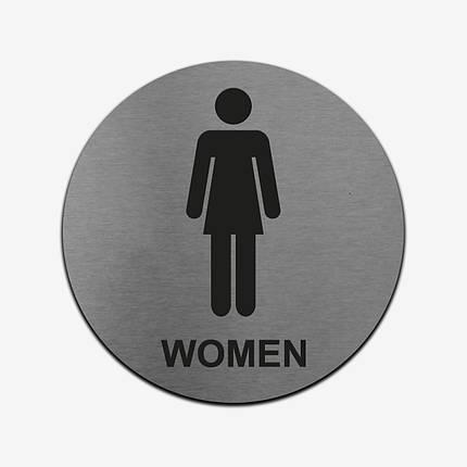 """Табличка круглая """"Женский туалет"""" Stainless Steel, фото 2"""