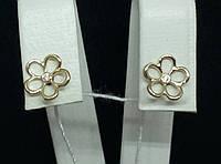 Золотые серьги-пуссеты с фианитами. Артикул 110554Ж, фото 1