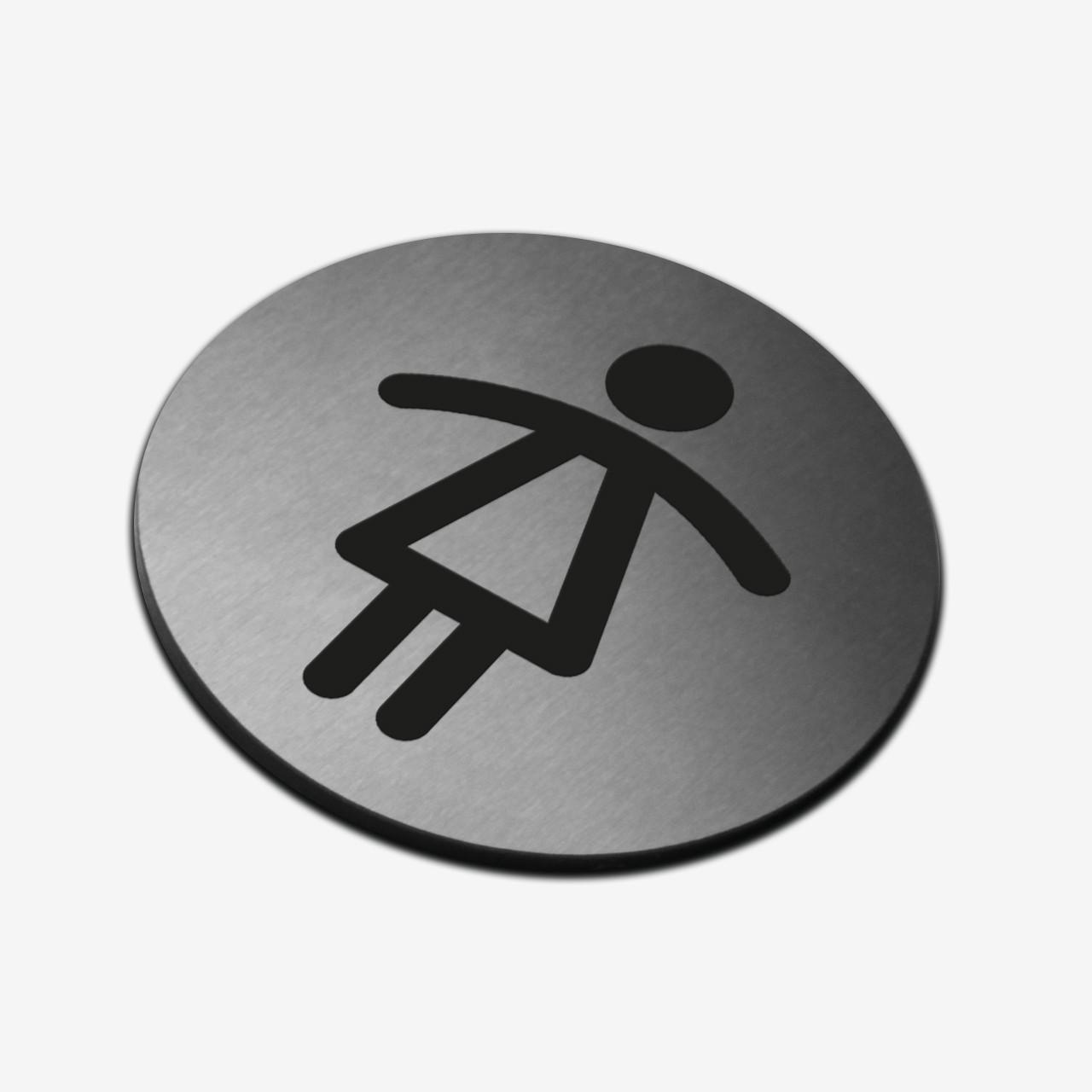 """Табличка круглая """"Женский туалет"""" Stainless Steel"""