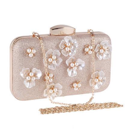 Вечерняя женская сумочка Bluebell Flower Golden eps-6077, фото 2