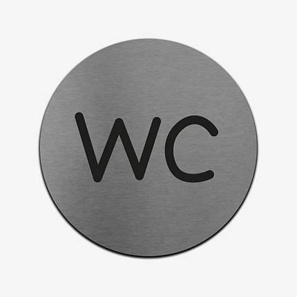 "Табличка кругла ""WC"" Stainless Steel, фото 2"