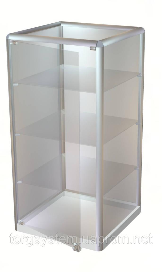 Торговый прилавок в каркасе с алюминиевого профиля 1000х500х500 в стекле