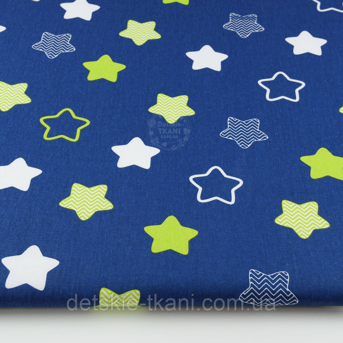 """Ткань хлопковая """"Звёзды-пряники с зигзагами"""" салатовые на синем  № 1340"""