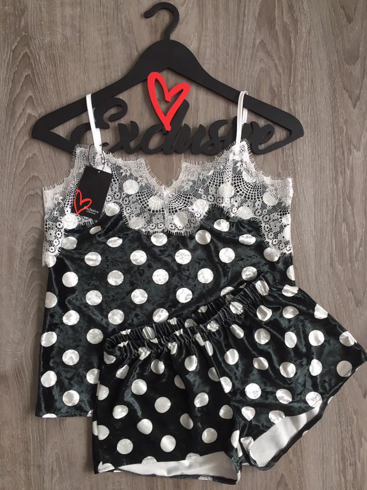 Женская одежда для дома и сна из атласа, черный комплект пижамы