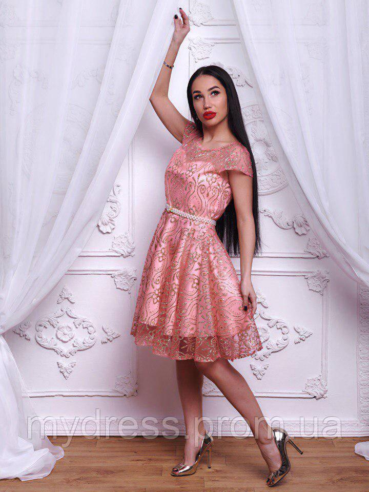 Платье нарядное с жемчужным поясом 500