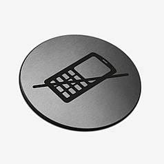 "Табличка круглая ""Телефон запрещен"" Stainless Steel"