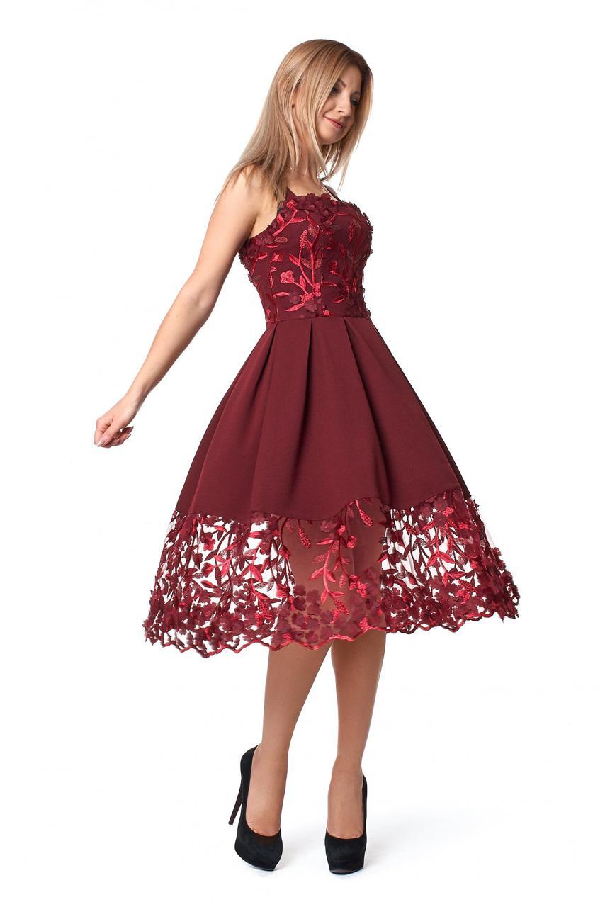 6ab2f6dfea0 Шикарное бордовое платье на бретельках с кружевом размер 42 -  Интернет-магазин стильной одежды