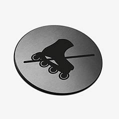 """Табличка кругла """"Ролики заборонені"""" Stainless Steel"""