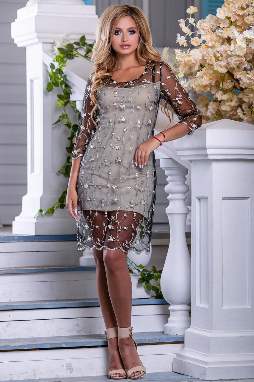 Женское платье нарядное, бежево-чёрное с вышивкой,  вискоза, размер 44, 46, 48, 50
