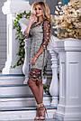 Женское платье нарядное, бежево-чёрное с вышивкой,  вискоза, размер 44, 46, 48, 50, фото 4