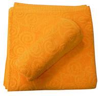 Махровое полотенце жаккардовое 70*140, 500 г/м2, Пакистан, Желтый Yellow