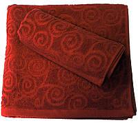 Махровое полотенце жаккардовое 70*140, 500 г/м2, Пакистан, Бордо Merlot