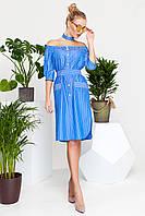 Эффектное Платье с Открытыми Плечами и Чокером Синее в Полоску S-XL, фото 1