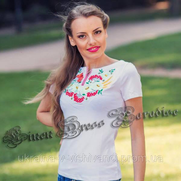 Женские футболки с вышивкой белые. Модель