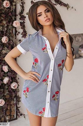 Летнее платье выше колен на пуговицах прямое с воротником черное полосатое с розами, фото 2