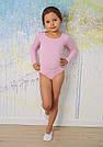 Купальник для танцев и гимнастики с длинным рукавом нежно-розовый, фото 3