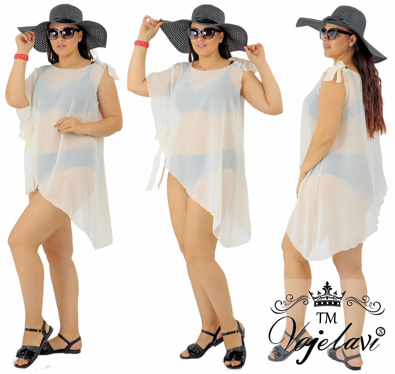 Біла жіноча пляжна туніка зі стразами № 591