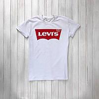Футболка мужская Levi's, стильная, молодежная, с принтом (белая), ТОП-реплика