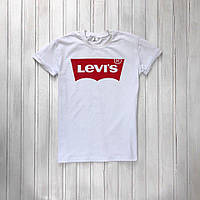 Футболка мужская белая Levi's трикотажная футболка в стиле левайс с красным принтом