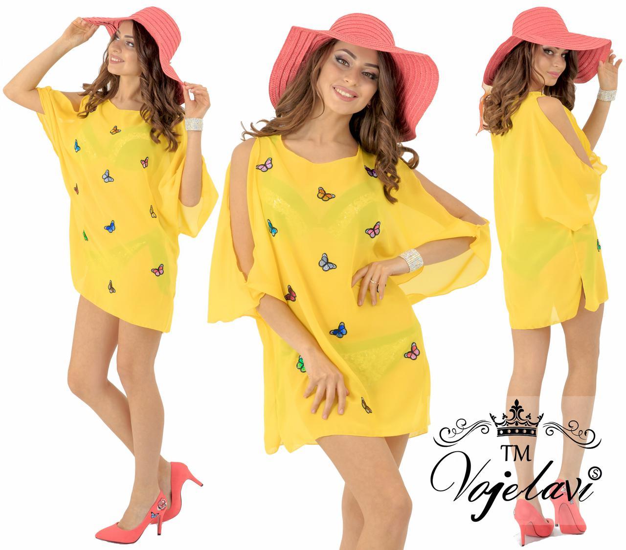 74640b6fb6e Пляжная желтая женская туника с бабочками № 1594 оптом и в розницу ...