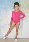 Купальник для танцев и гимнастики с длинным рукавом розовый, фото 3