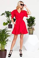 Яркое Короткое Платье на Лето из Льна Красное S-XL, фото 1