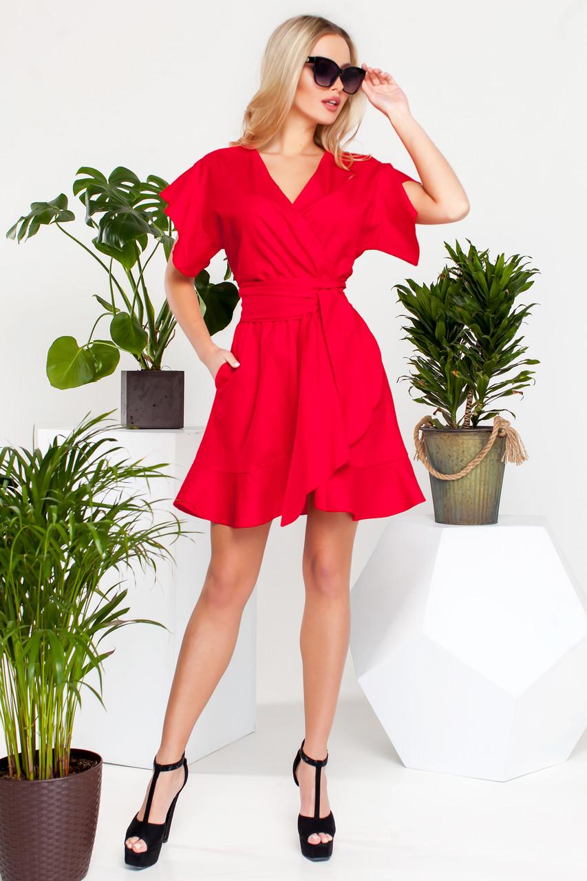 7eb577eb0fc Яркое Короткое Платье на Лето из Льна Красное S-XL - купить по ...