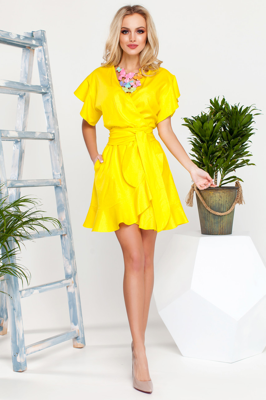 d35d748c8f6a Яркое Короткое Платье на Лето из Льна Желтое S-XL - Ukraine In Trend -